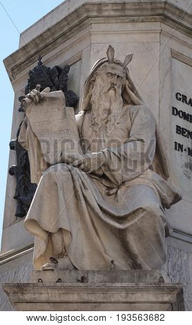 ROME, ITALY - SEPTEMBER 02: The Moses statue on the Column of the Immaculate Conception by Ignazio Jacometti on Piazza Mignanelli in Rome, Italy on September 02, 2016.