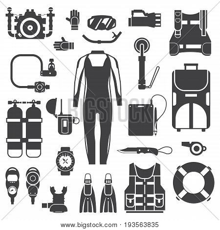 Snorkeling gear set. Scuba elements. Diving kit. Scuba-diving vector icons in outline design. Underwater activity accessories in black and white. Wetsuit, mask, snorkel, fins, oxygen, regulator.