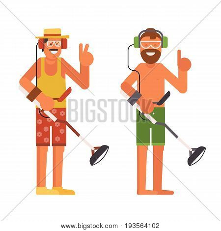 Treasure hunter vector illustration. Smiling beard summer man with beach metal detector in headphones.