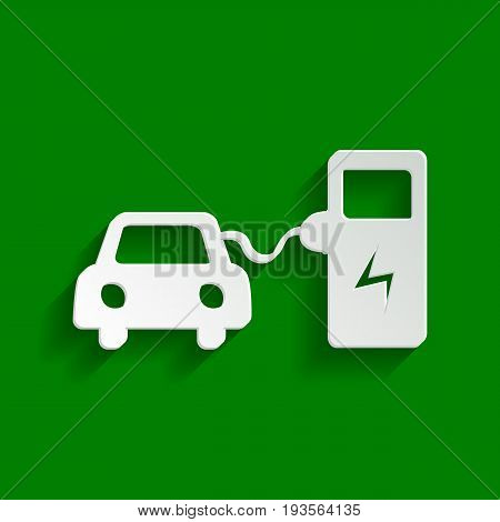 Electric car battery charging sign. Vector. Paper whitish icon with soft shadow on green background.