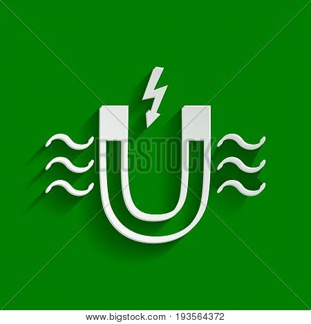Magnet with magnetic force indication. Vector. Paper whitish icon with soft shadow on green background.