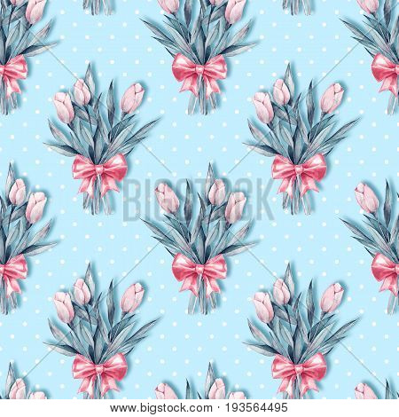 Watercolor floral seamless pattern. Bouquet of flowers