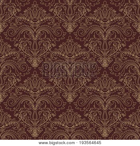 Oriental classic pattern with golden outlines. Seamless abstract background with repeating elements. Orient background