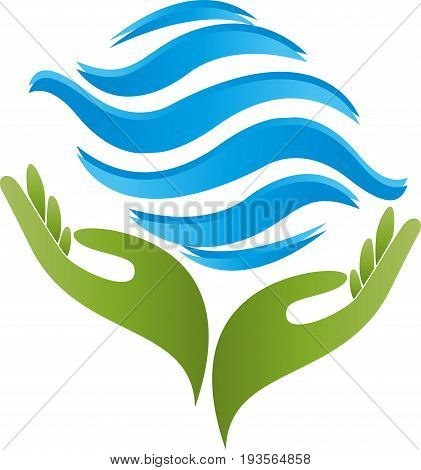 Two hands and water waves, wellness and naturopathic logo