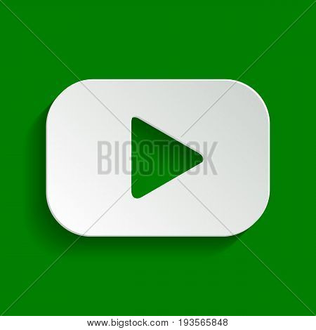 Play button sign. Vector. Paper whitish icon with soft shadow on green background.