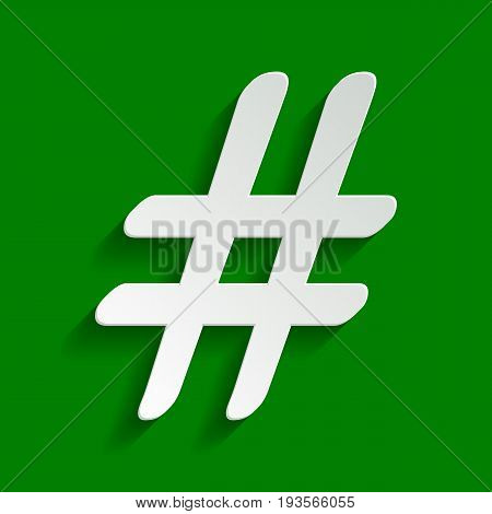 Hashtag sign illustration. Vector. Paper whitish icon with soft shadow on green background.