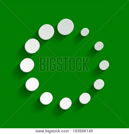 Circular loading sign. Vector. Paper whitish icon with soft shadow on green background.