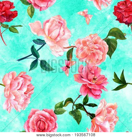 A seamless pattern with watercolor drawings of blooming red and pink roses, camellias, peonies, and butterflies, hand painted on a teal background in the style of vintage botanical art