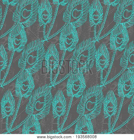 Raster repeating blue feather ornament on grey background
