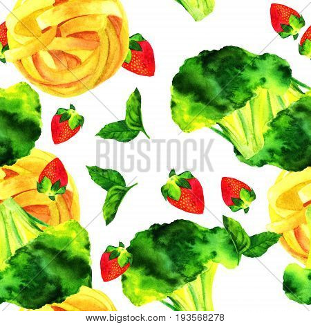 A seamless pattern of watercolour vegan food themed drawings. Leaves of mint, strawberry, broccoli sprouts, and pappardelle pasta nests, hand painted on white background