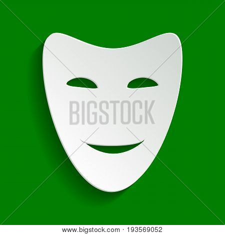 Comedy theatrical masks. Vector. Paper whitish icon with soft shadow on green background.