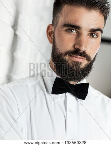 Good-looking bearded man in butterfly tie, smiling, . portrait photo.