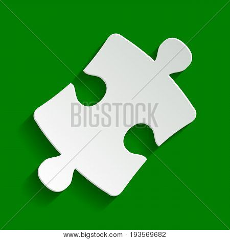 Puzzle piece sign. Vector. Paper whitish icon with soft shadow on green background.