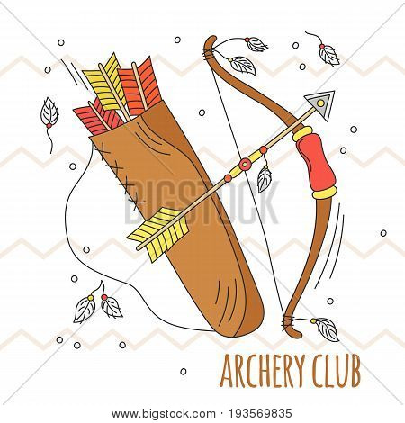 Vector cartoon bow and arrows. Archery club illustration. Kid summer play. Traditional game. Indian culture. Hand drawn background.