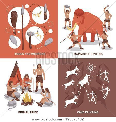 Primal tribe people concept icons set flat isolated vector illustration