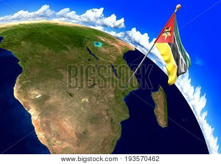 Mozambique national flag marking the country location on world map. 3D rendering, parts of this image furnished by NASA