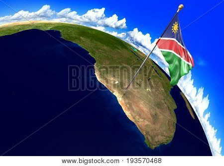 Namibia national flag marking the country location on world map. 3D rendering, parts of this image furnished by NASA