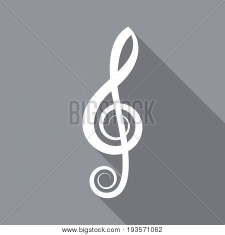 White vector treble clef flat icon long shadow