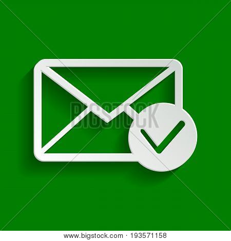Mail sign illustration with allow mark. Vector. Paper whitish icon with soft shadow on green background.