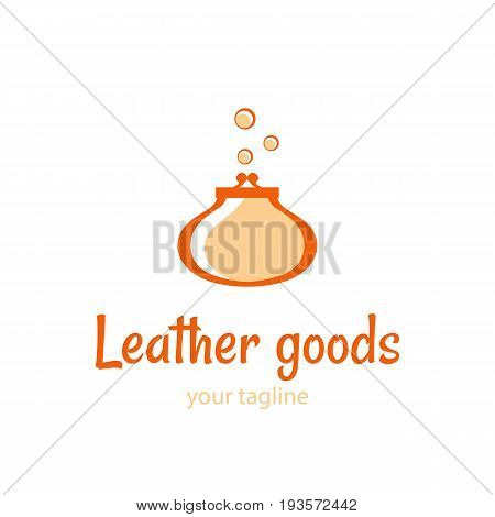 Vector logo template for the store of leather goods. Illustration of a vintage purse. Handmade icon. EPS10. Logotype in retro style.
