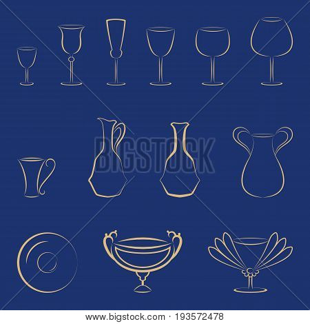 Set of gold tableware and glasses on a blue background. Vector elements for corporate identity or logo template.