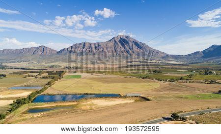 Aerial view of the mountains around Tulbagh in the Western Cape of South Africa