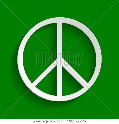 Peace sign illustration. Vector. Paper whitish icon with soft shadow on green background.