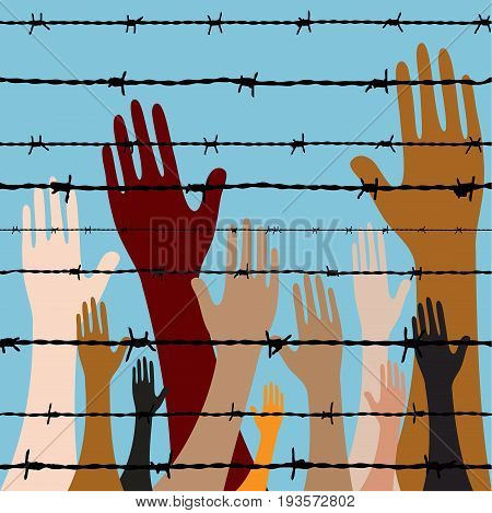 people hand behind barbed wire seamless vector