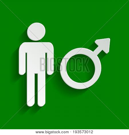 Male sign illustration. Vector. Paper whitish icon with soft shadow on green background.