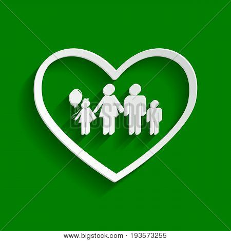 Family sign illustration in heart shape. Vector. Paper whitish icon with soft shadow on green background.