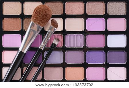 Multicolor Palette Eyeshadow With Brush For Make Up As Sample Of Cosmetic Product