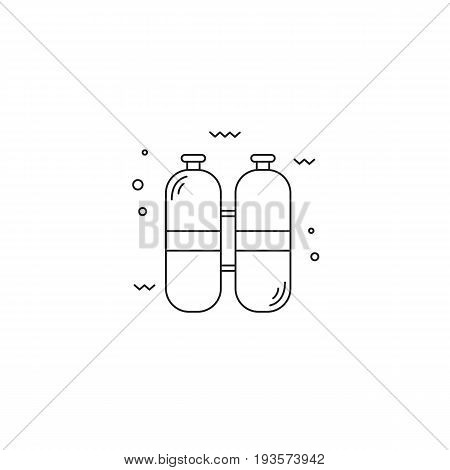 Diving vector thin line icon, oxygen cylinders. Black on white isolated symbol. Logo template, element for travel agency products, tour brochure, excursion banner. Simple mono linear modern design.