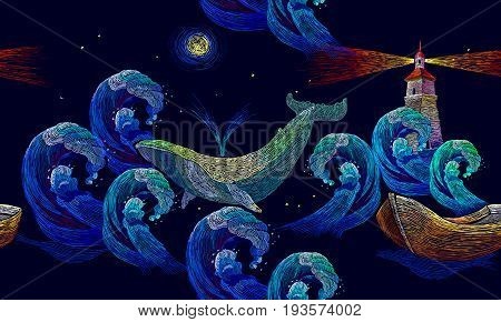 Embroidery whales lighthouse sea wave and boat seamless pattern. Art embroidery big waves ocean lighthouse and whales seamless pattern. Template for clothes t-shirt design