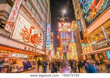 OsakaJapan - November 28 2015 : Night view with light displays of Dontonbori in Namba OsakaJapan. Namba is well known as an entertainment area in Osaka.