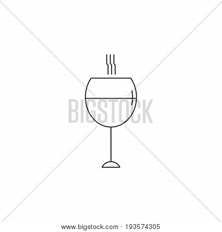 Wine glass vector thin line icon. Isolated symbol. Logo template for restaurant or tasting tour, element for travel agency products, tour brochure, excursion banner. Simple mono linear modern design.