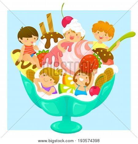 happy kids in a cup of ice cream with fruit