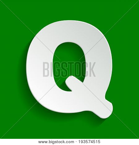 Letter Q sign design template element. Vector. Paper whitish icon with soft shadow on green background.