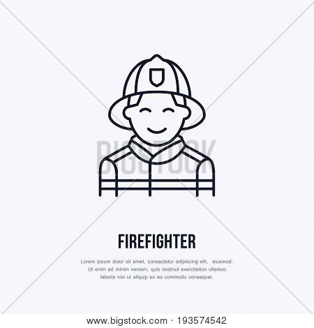 Firefighter flat line sign. Flame protection thin linear icon, pictogram. Smiling fire fighter vector isolated on white background.