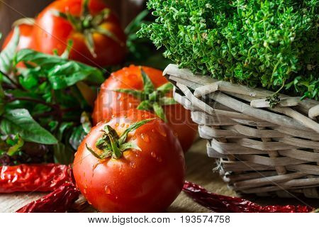 Fresh organic ripe tomatoes with water drops thyme in wicker basket green and purple basil chili peppers on wood kitchen table rustic Provence mediterranean style