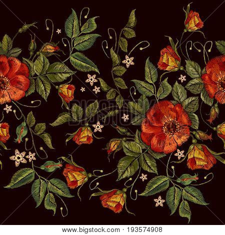 Embroidery wild red roses seamless pattern. Classic style embroidery beautiful red roses seamless pattern vector. Fashionable template tapestry flowers renaissance