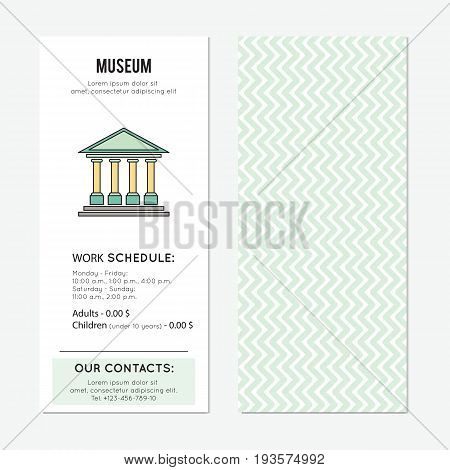Museum vector vertical banner template. The tour announcement. For travel agency products, tour brochure, excursion banner. Simple mono linear modern design.