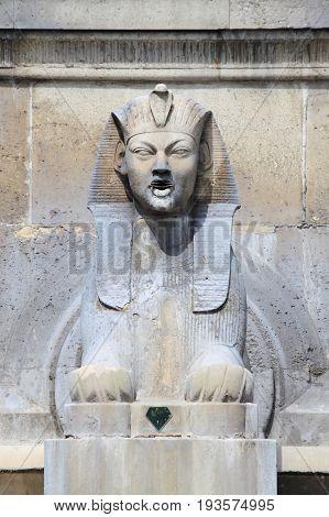 Sphinx statue in Fontaine du Palmier Paris, France