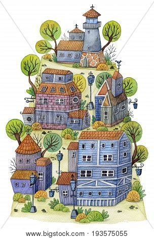 Watercolor cartoon village with lighthouse, houses and trees on mountain. Fairytale landscape. Vintage design concept for print or poster. Hand drawn illustration