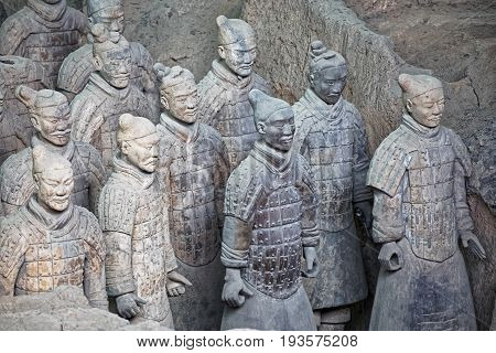 Xizn China May 28 2017 The world famous Terracotta Army part of the Mausoleum of the First Qin Emperor and a UNESCO World Heritage Site located in Xian China
