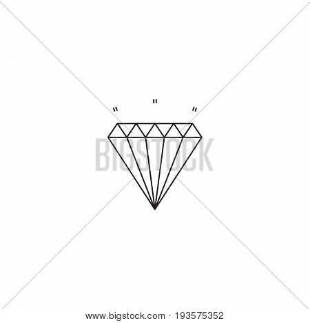 Diamond vector thin line icon. Isolated symbol. Logo template, element for jewelry store, gemstone mine, travel agency products, tour brochure, excursion banner. Simple mono linear modern design.