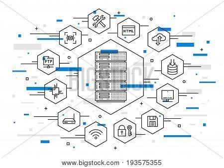 Server technology vector illustration. Network database infrastructure system. Data storage cloud hardware graphic design.
