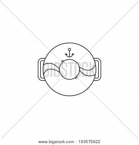 Lifebuoy vector thin line icon. Black on white isolated symbol. Logo template, element for sea or aquapark products, travel agency tour brochure, excursion banner. Simple mono linear modern design.