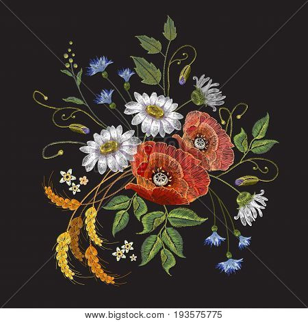Poppies and chamomiles bouquet embroidery vector. Beautiful chamomiles wheat cones and poppies. Classic embroidery for clothes template