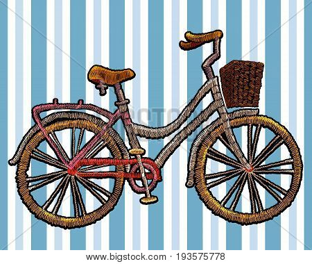 Embroidery bicycle with basket. Fashionable embroidery bicycle on white background in blue strip spring art template for romantic clothes t-shirt design