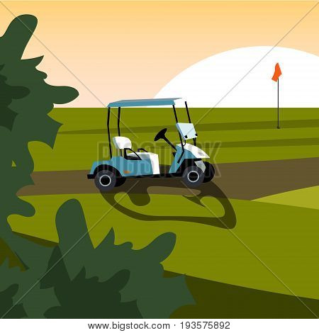 Set of elements for the game of Golf. Golf stuff set isolated. Vector golf car